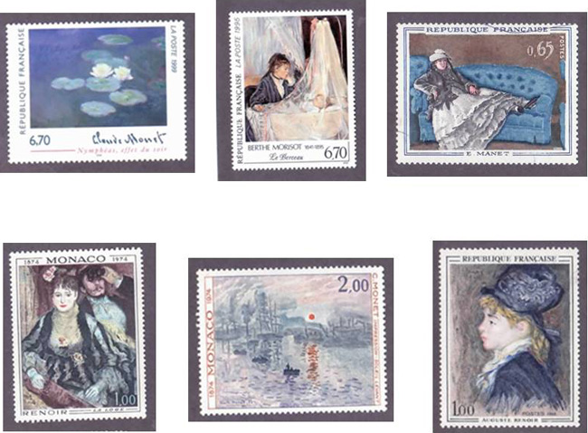 Impressionist paintings on stamps
